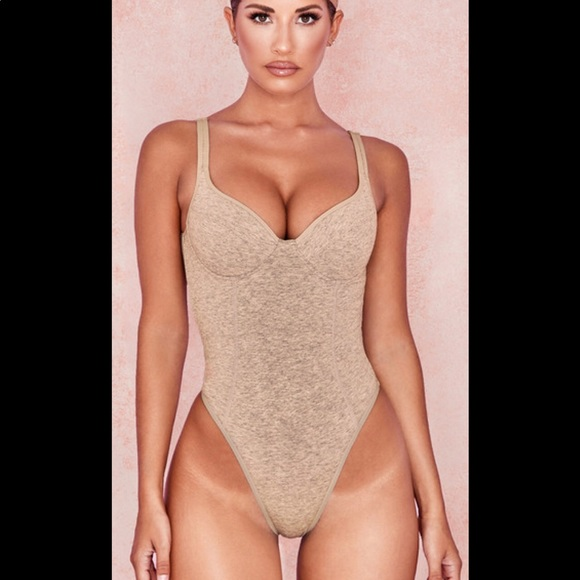House of CB BISCUIT MARL SOFT JERSEY BODYSUIT